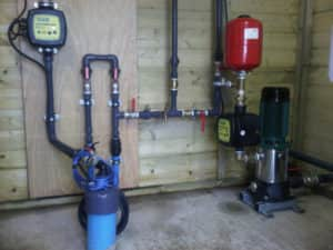 borehole pump in wooden room